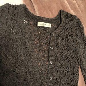 Abercrombie & Fitch Button Down Sweater Dark Grey